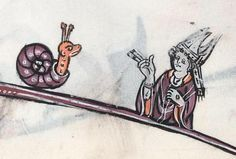 Bishop admonishing snail (NGV, MS. Felton 2, 13th c.)
