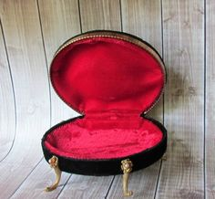 Black Velvet and Red Satin lined Jewelry Box by vintagepaige, $16.00