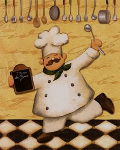 Posterazzi Le Chef et le Menu Canvas Art - Daphne Brissonnet x