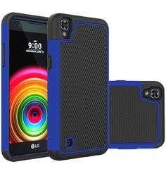 LG X Power Case,DIOS CASE(TM) Raised Honeycomb Anti Slip Design Shock Absorption Dual Layer Hybrid Rubber Grip Bumper Armor Cover for LG X Power K210 / K6P (Blue) -- Click image for more details.