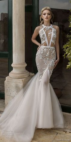 dany mizrachi spring 2018 bridal sleeveless halter jewel neck keyhole neckline heavily embellished bodice elegant mermaid wedding dress keyhole back chapel train (19) mv -- Dany Mizrachi Spring 2018 Wedding Dresses