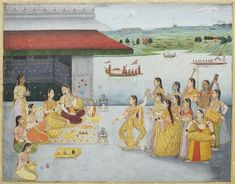 Dancers and musicians performing for a princess on a terrace before a river, signed by Muhammad Afzal, Oudh, circa 1770