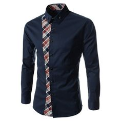 Casual Style Turn-down Collar Colorful Checked Print Personality Embellished Long Sleeves Men's Shirt, CADETBLUE, L in Shirts | DressLily.com