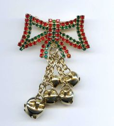 Vtg XMAS Christmas Rhinestone Bow Dangle Jingle Bells Lrg Gold Tone Brooch Pin #NotSigned