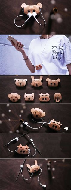 Leather Animal Face Headphone Earphone Wrap Winder Cord Organizer Source by Leather Art, Leather Gifts, Leather Design, Leather Jewelry, Leather Diy Crafts, Leather Projects, Earphones Wrap, Crea Cuir, Diy Accessoires