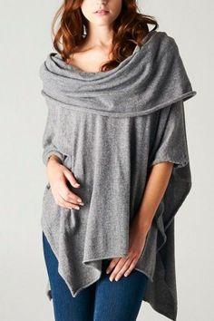 Draped Knit Poncho Sweater- Grey