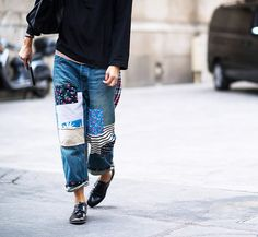 baggy patchwork denim
