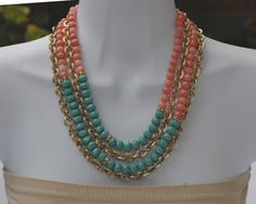 Bib Necklace Layered Necklace Coral Green Jade by stylelovers