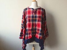 Vintage Plaid Wool Poncho Cape by Baxtervintage on Etsy