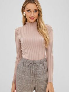 964e03a6118cd  50% OFF   HOT  2019 Slim Knit High Neck Sweater In LIGHT