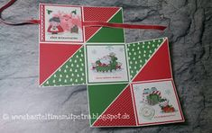 Hier sieht man die Mini Pop up Card mit einer Schleife verschlossen Basteltime mit Petra: Technik Blog Hop Karten-Technik Album 3 Pop Up Card, Petra, Album, Stampin Up, Blog, Playing Cards, Mini, Santa, Crafts