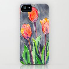 Tulips iPhone 5 Case - Floral Painting - Brazen Art Cell Phone Cover  - iPhone 5 4 4s 3g Case. $40.00, via Etsy.