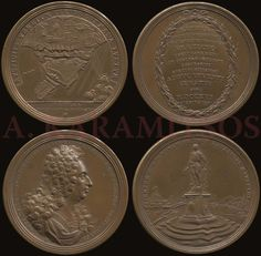 1716 two (2) bronze medals by Mueller and Vestner, commemorative the defense of Corfu, by ..