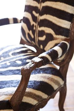 Antique French Chair with Zebra Skin Upholstery, via Rooney Robison Antiques.