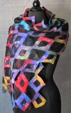 nuno felted shawl fine merino wool and silk handmade