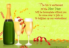 Dgreetings - With this card invite your friends at home for New Year party. Invitation Cards, Invitations, New Year Card, Invite Your Friends, New Years Party, Wine Glass, Champagne, Tableware, Fun
