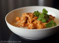 Chicken Tikka Masala - this IS the recipe we use and it is soooooooooo darn good. We use Greek or plain yogurt in place of cream, but I do use a little cream to make it silky!