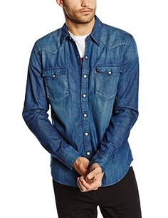 Levis, Denim Button Up, Button Up Shirts, Jackets, Amazon, Dark, Fashion, Full Sleeves, Men