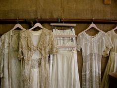 A walk in wardrobe with a vintage lace section Vintage Dresses, Vintage Outfits, Vintage Fashion, Vintage Clothing, White Clothing, Vintage Wardrobe, Lace Dresses, The Painted Veil, Linens And Lace