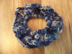Hair Scrunchies - Hand Crocheted - Windsor Blue Creams (#12) #Scrunchies #Any