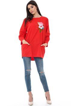 Bluza rosie cu broderie flori - BR1318
