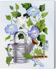 Shop for Maureen Mccarthy 'Watering Can And Morning Glories' Canvas Art. Get free delivery On EVERYTHING* Overstock - Your Online Art Gallery Store! Canvas Artwork, Painting Canvas, Vintage Flowers, Watercolor Paintings, Watercolors, Iris Painting, Oil Paintings, Online Art, Flower Art