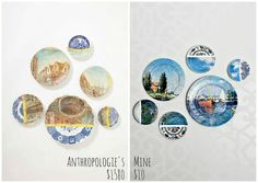 anthro inspired collage art plates, crafts, decoupage, Anthro s on the left mine on the right