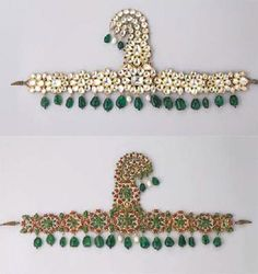 A magnificent diamond, emerald and enamel turban ornament (sarpech), Mughal or Deccani, circa 1790. Designed as floral panels set with diamonds within foiled gold surrounds with emerald and ruby detail, suspending a fringe of emerald beads and natural pearls. the detachable open-work jigha of graduated scroll form set in similar fashion with diamonds suspending emerald beads and a pearl drop.