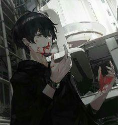 Pin by stef ☆ on ☆ art ☆ in 2019 anime art, sad anime, kawaii anime. Hot Anime Boy, Cute Anime Guys, Dark Anime Guys, Anime Cosplay, Manga Art, Manga Anime, Regard Animal, Yandere Boy, Blood Anime