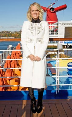 CARRIE UNDERWOOD embellished white coat