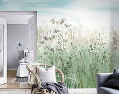 Oil Painting Dreamy Plants with Flowers Birds Wall Mural Wallpaper, Dark Color Blooming Flowers Small Plants Scenic Fanstastic Wall Mural Tree Wallpaper, Custom Wallpaper, Flower Wallpaper, Photo Wallpaper, Bedroom Murals, Wall Murals, Dark Green Walls, Open Wall, Smooth Walls