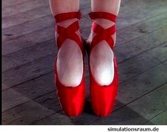 Red Ballerina Point Shoes - By SimulationsRaum