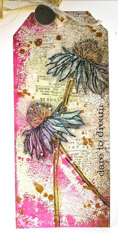 """June """"2nd Anniversary"""" Challenge Winners (The Mixed Media Monthly Challenge…(Pin#1: Flowers: Stamped; Pin+: Tags...)."""