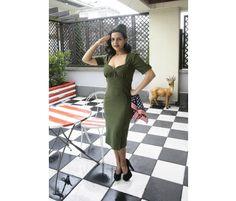 Sukienka retro Cadette - wojskowa. Furażerka osobno.