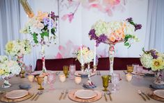 Inspired by the trend of floral fabrics, First Look Events envisioned a wedding overflowing with floral patterns, lush flowers, and watercolor details.