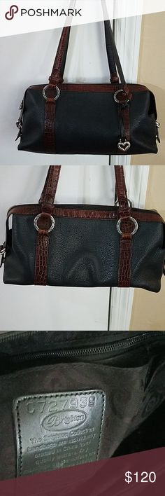 Brighton Satchel Shoulder Bag Super cute Brighton Bag. It is navy and  burgundy brown. The navy is very dark, almost black. It is 15 inches wide,  ... f65310ad6f
