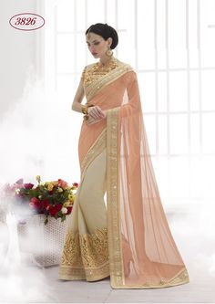 PRO CLAIM THE PARTY QUEEN TAG BY WEARING THIS CHIFFON AND NET SAREE IN BEIGE AND CHIKU COLOR. THE ATTIRE FEATURES WITH EMBROIDERY AND STONNING. AS SHOWN, IT TS AVAILABLE WITH UNSTICH EMBROIDERED BLOUSE.