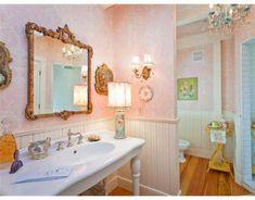 Kristie Pastel Bathroom, Kid Bathroom Decor, Kid Bathrooms, Vintage Bathrooms, Dream Bathrooms, Bathroom Colors, Bathroom Wall, Bathroom Interior, Maine Cottage