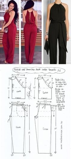 Diy Clothing, Clothing Patterns, Dress Patterns, Sewing Pants, Sewing Clothes, Jumpsuit Pattern, Pants Pattern, Fashion Sewing, Diy Fashion