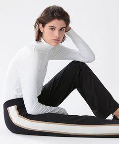 Jersey stripe trousers - New In - Autumn Winter 2016 trends in women fashion at Oysho online. Lingerie, pyjamas, sportswear, shoes, accessories, body shapers, beachwear and swimsuits & bikinis.