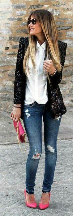 Super how to wear black blazer casual chic Ideas Blazer Outfit, Sequin Outfit, Look Blazer, Sequin Blazer, Fashion Mode, Moda Fashion, Trendy Fashion, Fashion Looks, Fashion Outfits