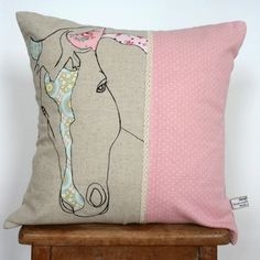 cushion, 100% linen with vintage fabric appliqué