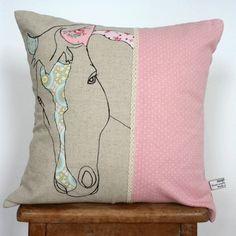 cushion, 100% linen with vintage fabric appliqué
