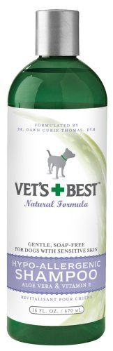 $11.19-$11.99 Vet's Best Hypoallergenic Shampoo with Aloe Vera, 16oz - Hypoallergenic Shampoo for dogs and cats is a tearless formula that gently cleans without soap while adding moisture and body.  Great for pets with dry or sensitive skin, perfect for puppies and kittens. Helps stop itching and soothes rough, scaly, irritated, sore or dry skin. Keeps normal hair coat soft, healthy and shiny. {U ...