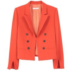 Double-Breasted Blazer (650 MXN) ❤ liked on Polyvore featuring outerwear, jackets, blazers, orange, red quilted jacket, red blazer, orange jacket, quilted jackets and red jacket