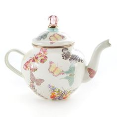 Butterfly Garden 4 Cup Teapot - White