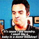 {gif}Nick Miller tries responsibility on for size.