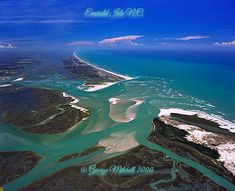 Aerial picture of Emerald Isle, NC by George Mitchell. North Carolina Coast, Carolina Usa, Carolina Beach, Emerald Isle North Carolina, Atlantic Beach, Surf City, All I Ever Wanted, Poster Pictures, Mountain Landscape
