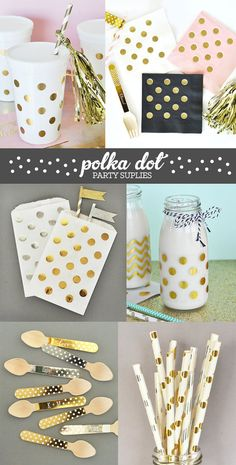 Polka Dot Party Supplies including polka dot napkins, polka dot cups, polka dot straws, polka dot bags and more!  by Mod Party