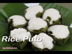 Putong Bigas sa Dahon ng Saging (Rice Puto in Banana Leaves) Rice puto is one popular rice snack in the country. It's just so easy to prepare and only requir. Pinoy Food Filipino Dishes, Filipino Desserts, Asian Desserts, Filipino Recipes, Putong Bigas Recipe, Putong Puti Recipe, Pinoy Recipe, Rice Cake Recipes, Rice Cakes
